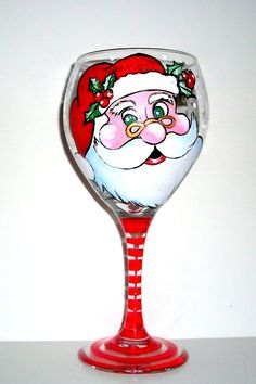 Hand Painted Wine Glass Santa Clause Is by SharonsCustomArtwork