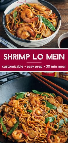 Make a takeout staple at home in 30 minutes, with just 15 minutes of cooking time! This Shrimp Lo Mein recipe with tender egg noodles, crispy vegetables, and juicy shrimp is easy to make and customize with your favorite add-ins. Asian Noodle Recipes, Easy Chinese Recipes, Asian Recipes, Healthy Recipes, Easy Home Recipes, Recipe For Lo Mein Noodles, Low Mein Recipe, Shrimp Lo Mein Recipe Easy, Chinese Shrimp Lo Mein Recipe