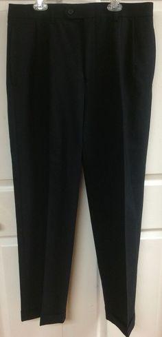 Lauren Ralph Lauren Total Comfort Men's Black Pleated Dress Pants 34x32 Cuffed #LaurenRalphLauren #DressPleat
