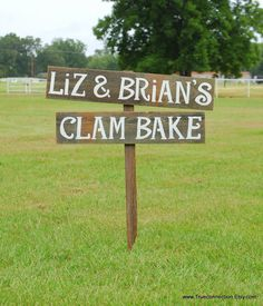 Rustic Wedding Shower Sign Clam Bake Outdoor Parties Decoration Hand Painted Reclaimed Wood. Rustic Weddings. Vintage Weddings Road Signs