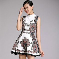 Beading Stand Collar Sleeveless Dress