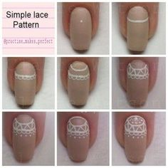 pictorial of lace design. tutorial. step by step. visual tutorial. #nails DIY NAIL ART DESIGNS Nail Design, Nail Art, Nail Salon, Irvine, Newport Beach