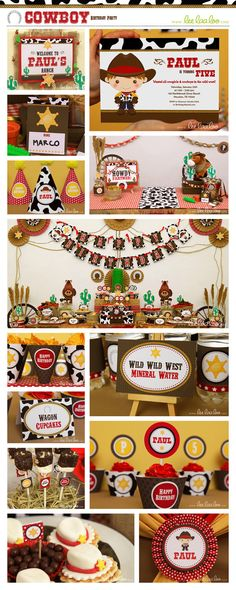 Cowboy Birthday Party Package Collection Set Mega Personalized Printable // Cowboy - B11Pz2