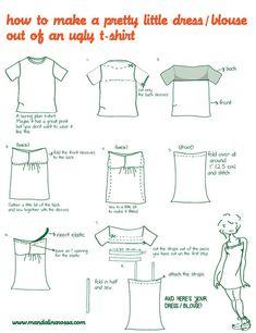 DIY refashion a shirt to a dress.