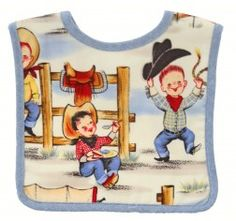 DIVINE cowboy baby bib by Alimrose Designs! Beautiful baby bib will keep your baby clean while also looking adorable in this adorable bin featuring vintage inspired print. Cowboy Quilt, Baby Cheeks, Retro Kids, Baby Shop Online, Newborn Baby Gifts, Online Gifts, Toys Online, Baby Boutique, Baby Design