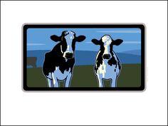 2 Holsteins Digital Studio Print Poster Store, Lake Geneva, Vintage Travel Posters, Digital Prints, Graphics, Paintings, Studio, Illustration, Fingerprints