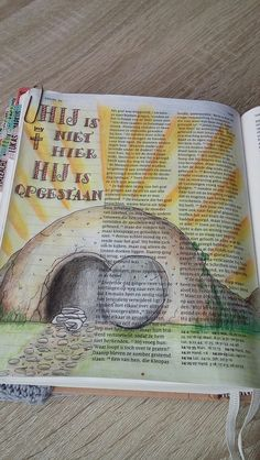 Bible journaling Lukas 24, Jezus leeft! made by Debora H.