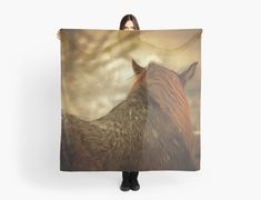'Horse View from Back in Snow in Winter.' Scarf by