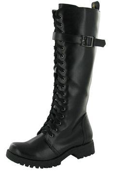 Volatile Combat Women's Boots Knee High Faux Leather Vegan