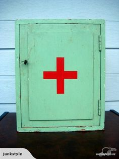 Vintage mint green first aid cabinet
