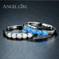Angel girl eenvoudige ring ronde wit roze blauw/wit vuur opaal ringen voor vrouwen trendy engagement bruiloft sieraden anillos r74-60912