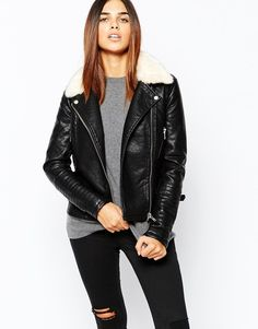Buy Warehouse Fur Collar Textured Pu Biker Jacket at ASOS. Get the latest trends with ASOS now. Coats For Women, Jackets For Women, Clothes For Women, Fur Collar Jacket, Leather Jacket, Black Biker Jacket, Pu Jacket, Motorcycle Jacket, Asos