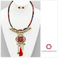 "Chicas qué les parece? Lo usarían?  ""Yes or no""  #necklace #red #gold #bohemian #chic #byou #becomplete"