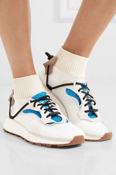 Sole measures approximately 30mm/ 1 inch Off-white mesh, bright-blue and light-gray textured-leather, beige suede, cream ribbed-knit Toggle fastening