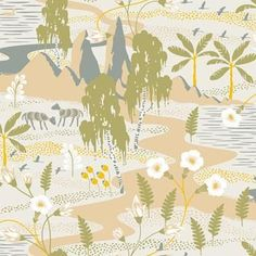 Brewster Home Fashions Wonderland Magisk Oasis x Wallpaper Roll Colour: Beige Fish Wallpaper, Home Wallpaper, Peel And Stick Wallpaper, Swedish Wallpaper, Wallpaper Online, Wallpaper Samples, Pattern Wallpaper, Transitional Wallpaper, Neutral Wallpaper