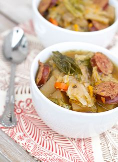 Kielbasa Stew: Easy Crock-pot recipe for a cold day. Very good - maybe add a little more carrots & cabbage next time. Only used 1 veggie bullion cube to cut down on sodium and it still had plenty of flavor. Slow Cooker Recipes, Crockpot Recipes, Soup Recipes, Dinner Recipes, Cooking Recipes, Healthy Recipes, Crock Pot Soup, Crock Pot Cooking, Recipes