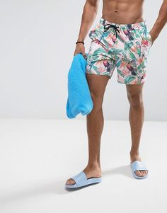 ASOS Swim Shorts In Pink Tropical Floral Print With Triangle Logo In Mid Length