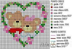 love is in the air - bears Small Cross Stitch, Cross Stitch Heart, C2c Crochet, Heart Crafts, Perler Patterns, Christmas Cross, Cool Patterns, Cross Stitching, Pixel Art