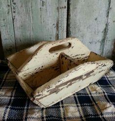 Early Ohio Primitive Wooden Tote Original Buttermilk Paint AAFA | eBay