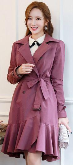 StyleOnme_Romantic Mermaid Hem Trench Coat #flounced #feminine #jacket #faltrend #koreanfashion #kstyle #kfashion #seoul #autumnlook