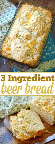 Best beer bread you've ever had and just 3 ingredients too! Add cheddar cheese and it is out of this world and so easy to make. via @thetypicalmom