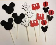 Mickey Mouse Birthday Cupcake Toppers 12 by TheGirlNXTdoor on Etsy Fiesta Mickey Mouse, Theme Mickey, Mickey Party, Mickey Mouse Clubhouse, Mickey Minnie Mouse, Mickey Head, Mickey Centerpiece, Mickey Decorations, Minnie Mouse Birthday Decorations