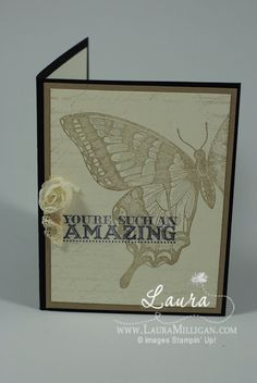 Laura adds a touch of vintage to her lovely Swallowtail card with pieces of Flower Trim & Crochet Trim. It also uses En Francais & Amazing Family sets.