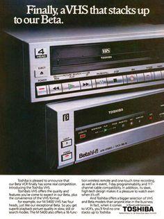 Toshiba Betamax and VHS video recorder ad - www.remix-numerisation.fr - Rendez vos souvenirs durables ! - Sauvegarde - Transfert - Copie - Digitalisation - Restauration de bande magnétique Audio - MiniDisc - Cassette Audio et Cassette VHS - VHSC - SVHSC - Video8 - Hi8 - Digital8 - MiniDv - Laserdisc - Bobine fil d'acier - Digitalisation audio