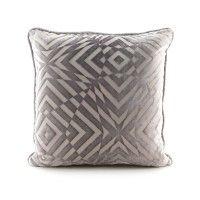 Silver Op Art Velvet Piped Pillow