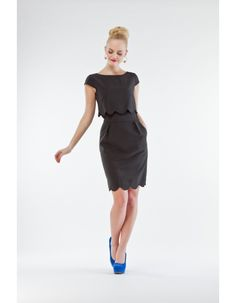 Lovely black boat neck dress