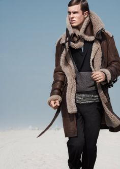 Menswear winter look...sheepskin high collar coat.