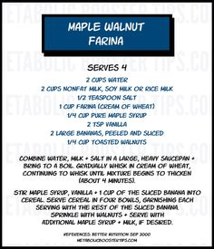 Ideas for Homemade Cereal Recipes -  Maple Walnut Farina.  For another quick #lowfatbreakfast idea to help boost energy levels, please click in this image.....