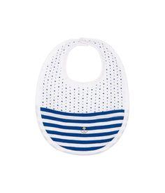 Bavoir bébé garçon en bouclette éponge imprimée blanc Ecume / bleu Pablito - Petit Bateau