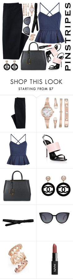 """""""Pinstripes (Top Fashion Set for 8/9/16!!!!)"""" by chey-love ❤ liked on Polyvore featuring Canvas by Lands' End, Anne Klein, New Look, Giuseppe Zanotti, Fendi, Chanel, Lowie and Tory Burch"""
