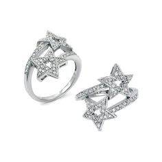 Raven's Diamond CZ Shooting Star Ring - Final Sale ($19) via Polyvore featuring jewelry, rings, round ring, star jewelry, diamond jewellery, sparkle jewelry and zirconia diamond rings