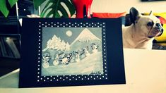 French buldog winter card, unique, handmade, fingerprint art / french bulldog with snowmmans by BoubouleArt on Etsy