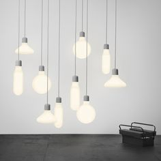 Stockholm studio: Form Us with Love: lighting for Swedish company Design House Stockholm: blown-glass pendants in circular, square and triangular shapes.