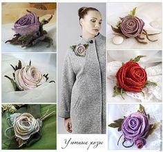 Купить Брошь роза КРЕМОВАЯ - бежевый, роза, роза чайная, чайная роза, брошь