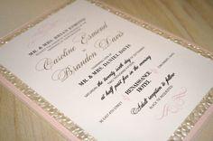 blush champagne ivory pebble pink romantic pocketfold wedding invitation by ELESINVITATIONS on Etsy