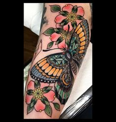 Thanks Michelle! Still more background to tie it all together...✨#kingsavetattoo #butterflytattoo #blossomtattoo