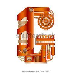Стоковая векторная графика «Letter G Mechanic Alphabet Steampunk Font» (без лицензионных платежей), 770445904