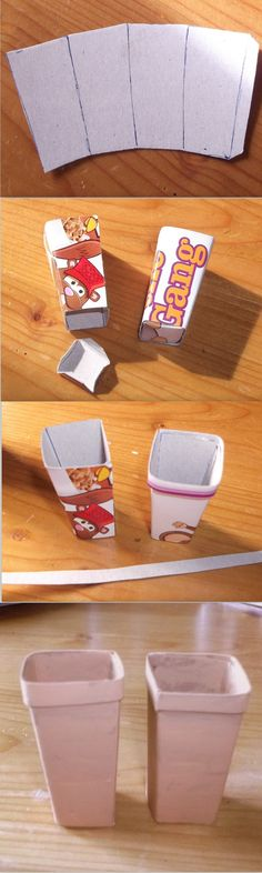 Photo tutorial.  How to make miniature terracotta planters from a cereal box.  DIY dolls house