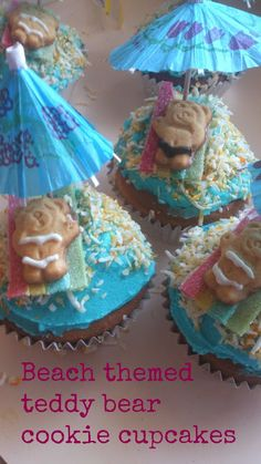 Domesblissity: Beach themed teddy bear cookie cupcakes
