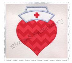 $2.95Applique Heart With Nurse Hat Machine Embroidery Design