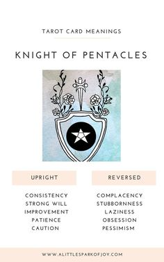 The Knight of Pentacles wants a little less talk and a lot more action. Find here the upright and reversed Knight of Pentacles tarot meaning! Magick, Wicca, Witchcraft, Tarot Card Meanings, Tarot Spreads, Tarot Readers, Major Arcana, Pentacle, Oracle Cards