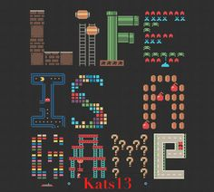 geek video game cross stitch