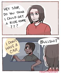 Don't like the cuss word but ehehe. Sam isn't over the fact that Bucky took the wheel outta his first car, and broke one of the wings off his suit