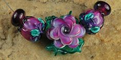 Glass Lampwork Beads Pink Purple Roses SRA 799 by by carolynsbeads