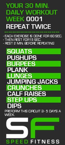 Week 0001 of your Weekly 30 Min. Workout