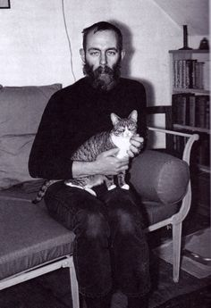 "young edward gorey with cat. and jeans?  ""i can't conceive of a life without cats."" - edward gorey, 1925 - 2000"